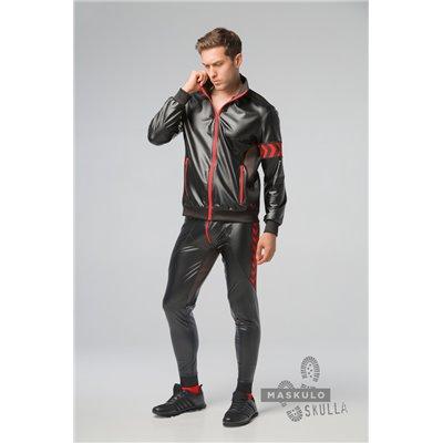 MASKULO - Men's Fetish Leatherette Jacket Red