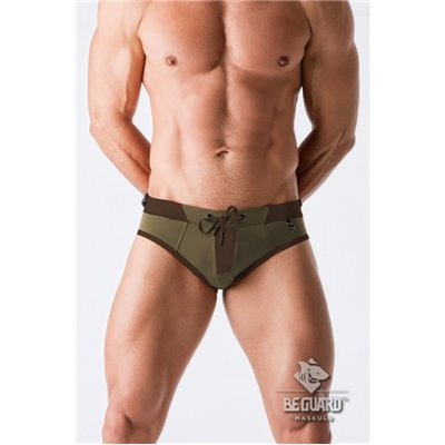 MASKULO - BeGuard Swimming Briefs with Zip Imitation on the Front Olive