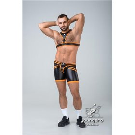 Maskulo - BeGuard Nylon Club Shorts with Contrasting Mesh Inserts Brown