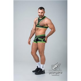 Maskulo - BeGuard Nylon Club Shorts with Contrasting Mesh Inserts Olive