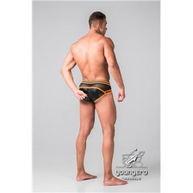 Addikt Leather Jockstrap Zip: Black & Orange