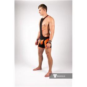 MASKULO - Wrestling Singlet Codpiece Open Rear Thigh Pads Royal Blue