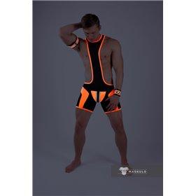 MASKULO - Wrestling Singlet Codpiece Open Rear Thigh Pads Black