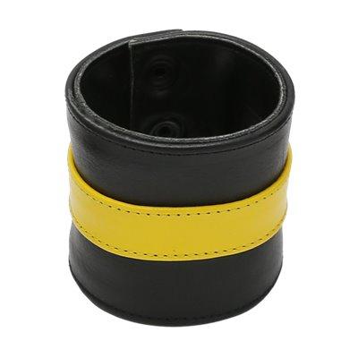 Addikt Smooth Leather Wristwallet: Black & Yellow